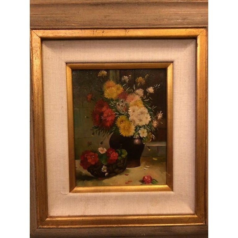 This is an oil on canvas painting depicting a still life with flowers. The piece was made in the 1980s. 