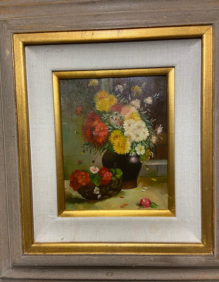 Modern 1980s Still Life with Flowers Oil on Canvas Case Framed Painting For Sale