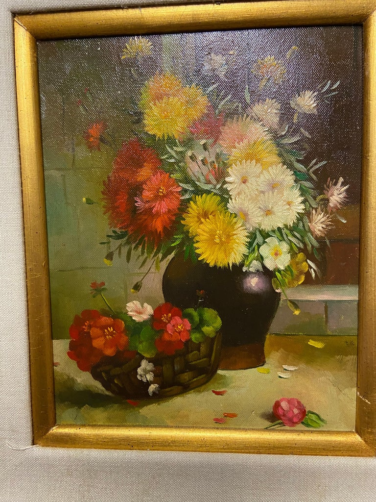 Late 20th Century 1980s Still Life with Flowers Oil on Canvas Case Framed Painting For Sale