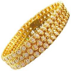 1980s Style 25 Carat Gold and Diamond Tennis Bracelet, by Van Cleef & Arpels