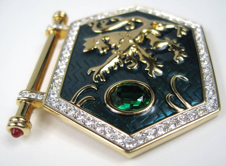 Swarovski Brooch Gold Griffin set over green enamel with a large green  Swarovski Crystal then surrounded 0b1ef13bd