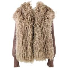 1980s Tailoring Brown Jacket in Mongolia Fur
