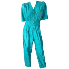 1980s Teal Blue Green Size 10 Crescent Windbreaker Fabric Vintage 80s Jumpsuit