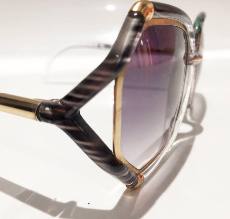 Gray 1980s Ted Lapidus Grey White Gold Oversized Sunglasses For Sale
