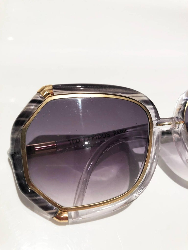 Women's or Men's 1980s Ted Lapidus Grey White Gold Oversized Sunglasses For Sale