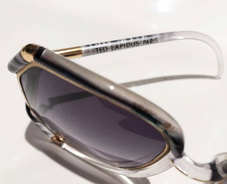 1980s Ted Lapidus Grey White Gold Oversized Sunglasses For Sale 1