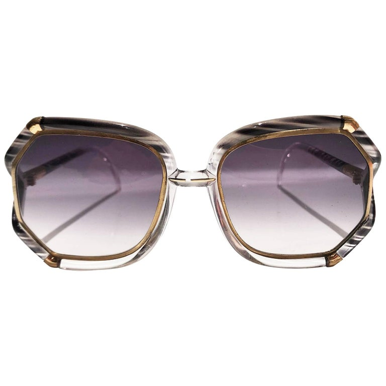 1980s Ted Lapidus Grey White Gold Oversized Sunglasses For Sale