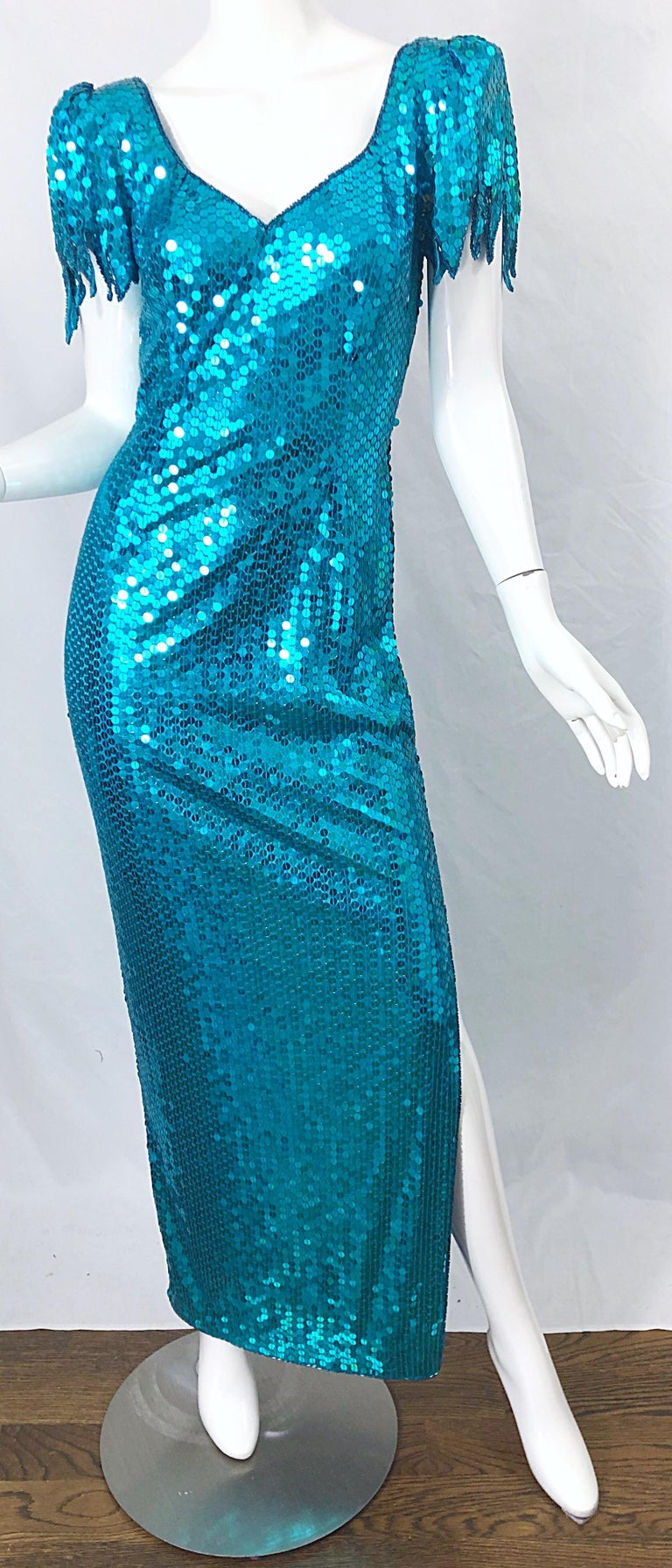 1980s Ted Lapidus Size 10 Turquoise Blue Avant Garde Sequined Vintage 80s Gown  For Sale 6