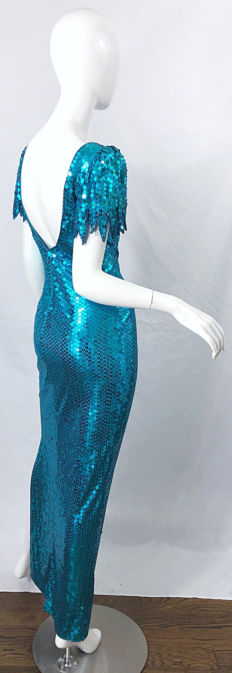 1980s Ted Lapidus Size 10 Turquoise Blue Avant Garde Sequined Vintage 80s Gown  For Sale 7