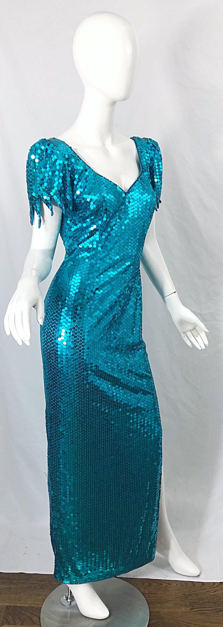 1980s Ted Lapidus Size 10 Turquoise Blue Avant Garde Sequined Vintage 80s Gown  For Sale 8