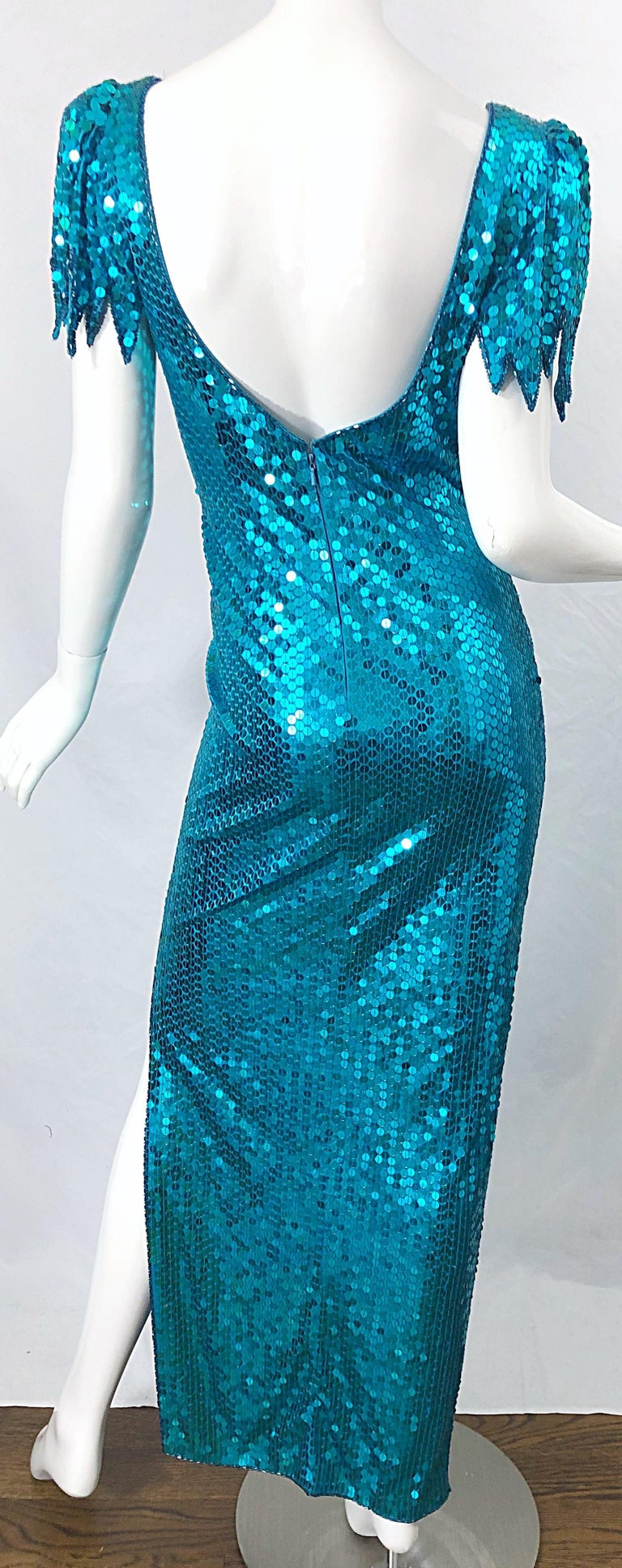 1980s Ted Lapidus Size 10 Turquoise Blue Avant Garde Sequined Vintage 80s Gown  For Sale 9