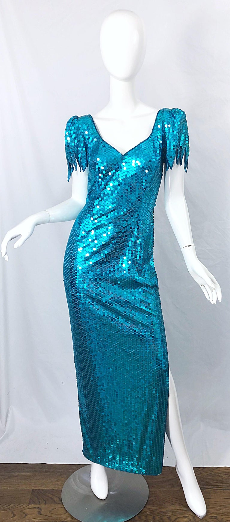 1980s Ted Lapidus Size 10 Turquoise Blue Avant Garde Sequined Vintage 80s Gown  For Sale 10