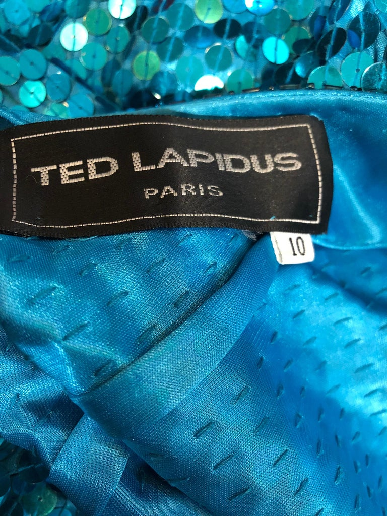 1980s Ted Lapidus Size 10 Turquoise Blue Avant Garde Sequined Vintage 80s Gown  In Excellent Condition For Sale In Chicago, IL
