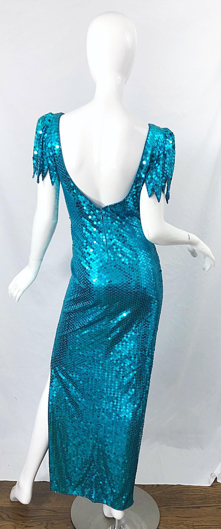 Women's 1980s Ted Lapidus Size 10 Turquoise Blue Avant Garde Sequined Vintage 80s Gown  For Sale