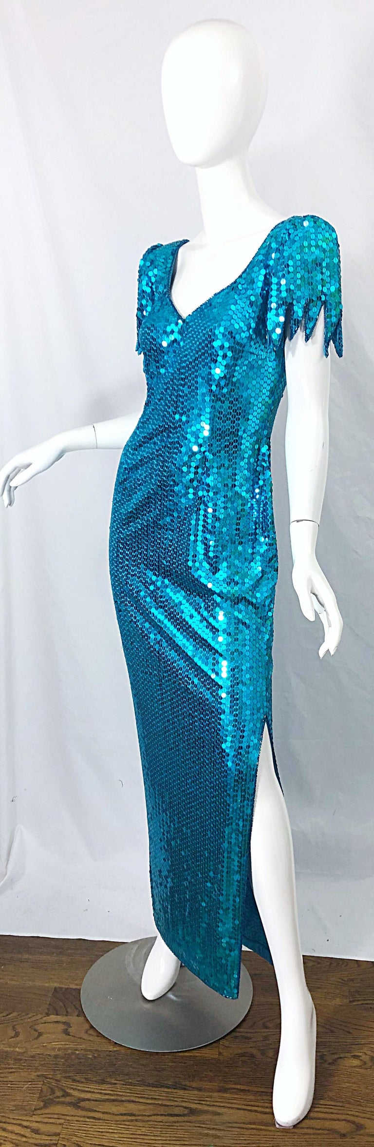 1980s Ted Lapidus Size 10 Turquoise Blue Avant Garde Sequined Vintage 80s Gown  For Sale 2