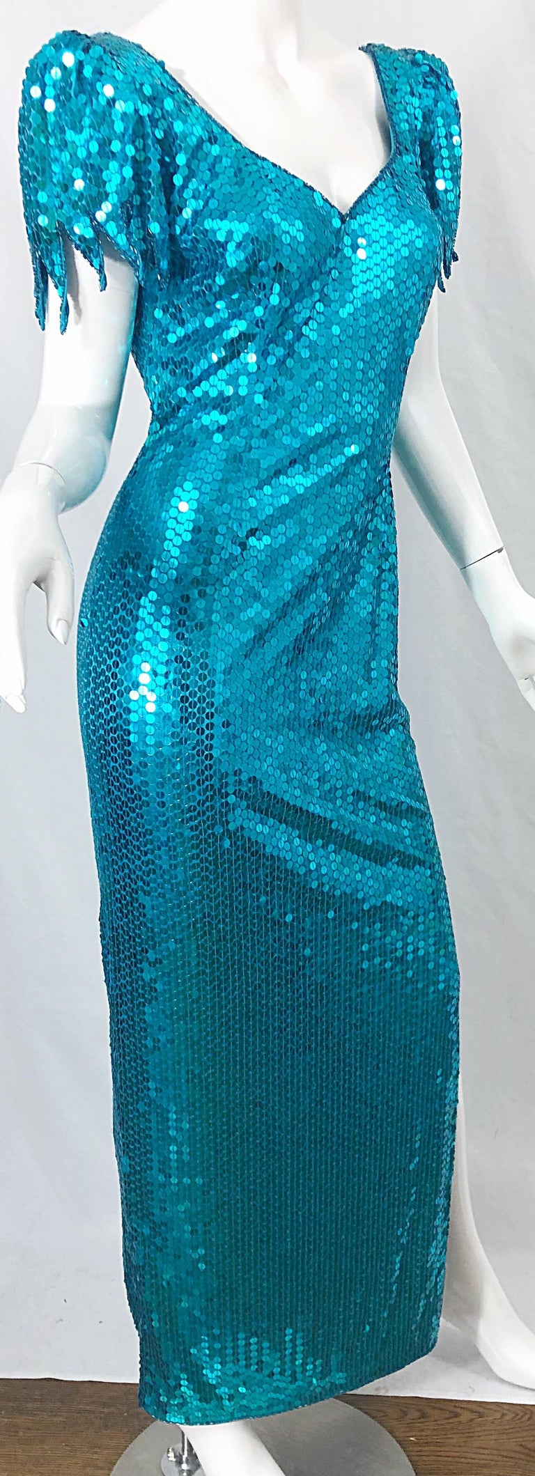 1980s Ted Lapidus Size 10 Turquoise Blue Avant Garde Sequined Vintage 80s Gown  For Sale 3