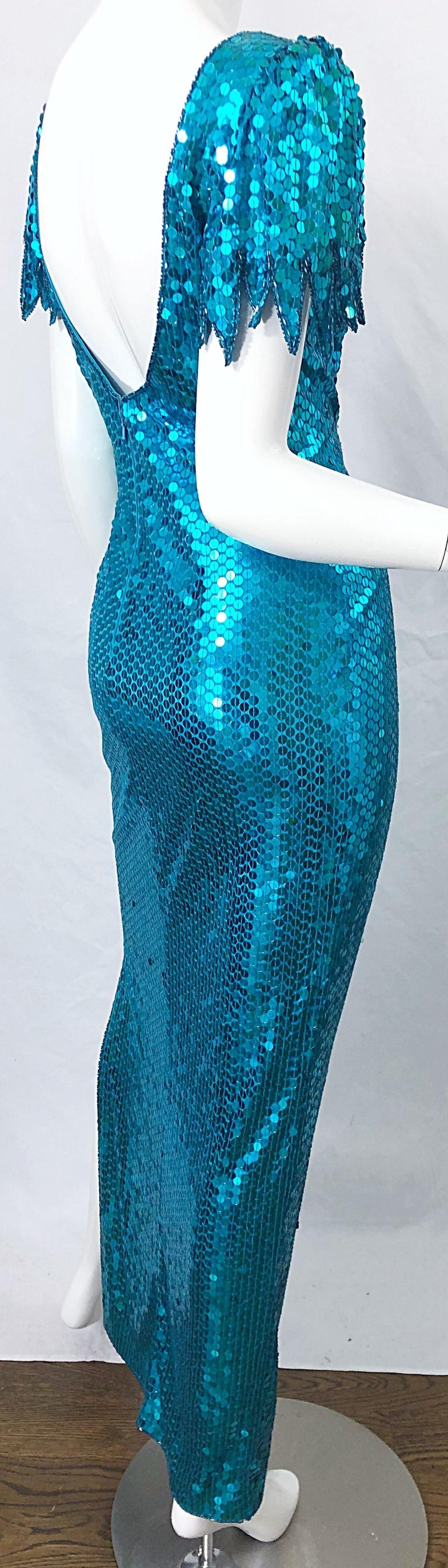 1980s Ted Lapidus Size 10 Turquoise Blue Avant Garde Sequined Vintage 80s Gown  For Sale 4