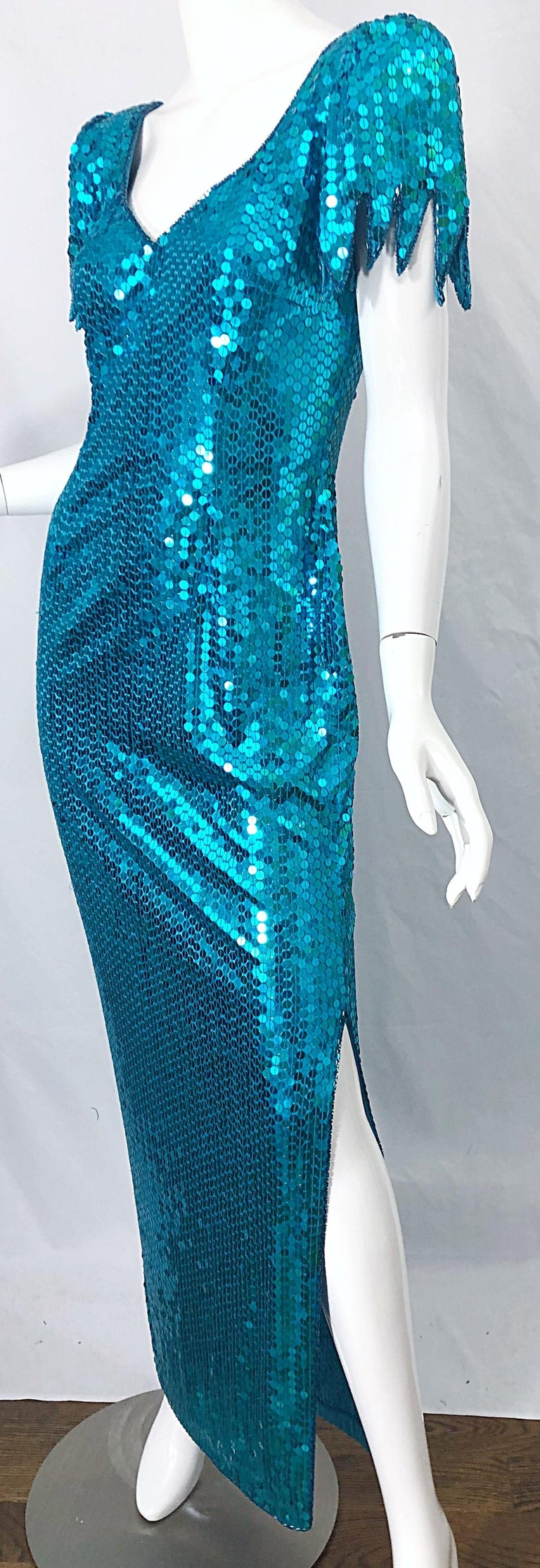 1980s Ted Lapidus Size 10 Turquoise Blue Avant Garde Sequined Vintage 80s Gown  For Sale 5