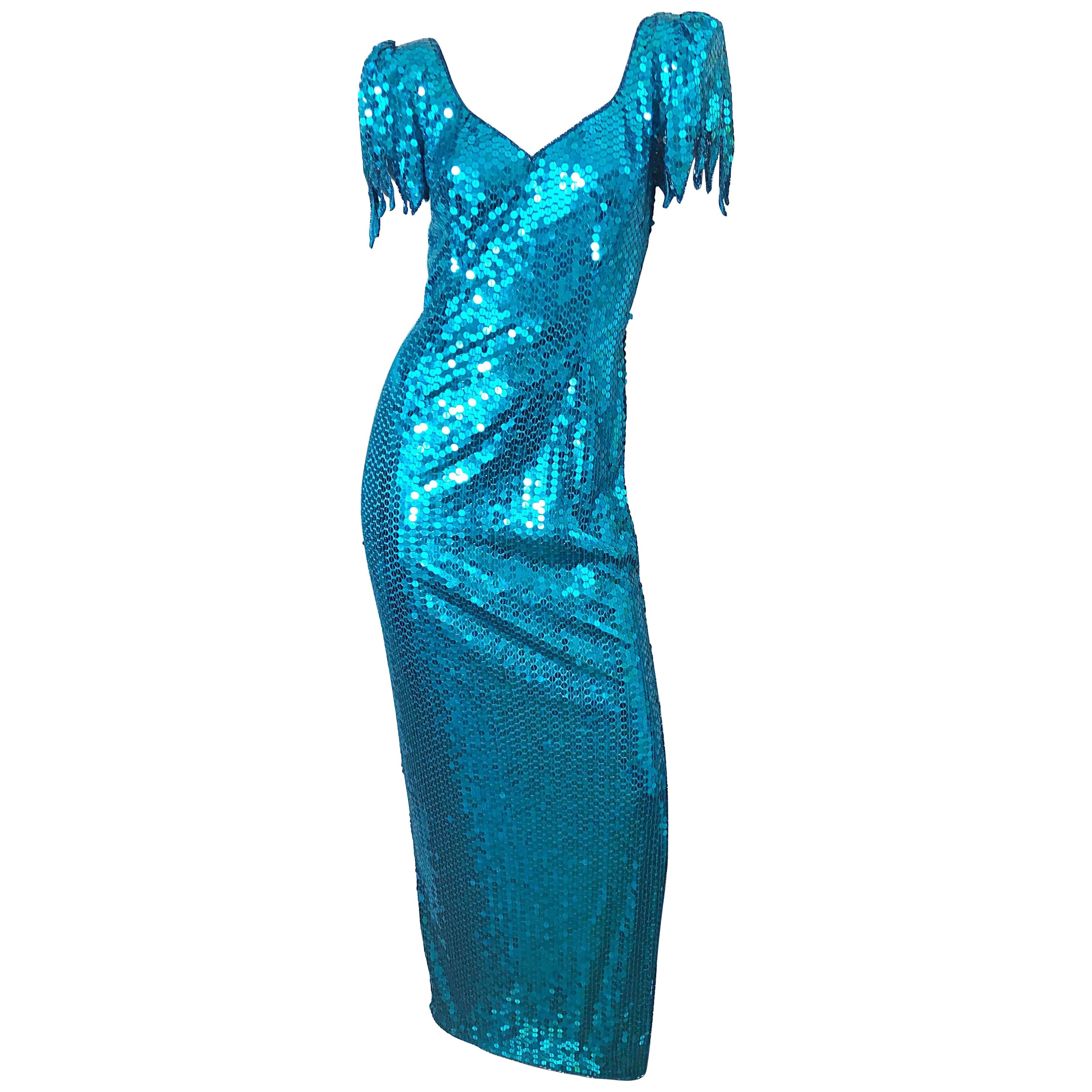 1980s Ted Lapidus Size 10 Turquoise Blue Avant Garde Sequined Vintage 80s Gown