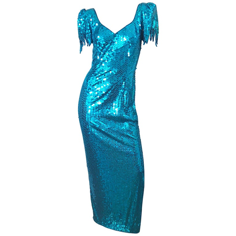 1980s Ted Lapidus Size 10 Turquoise Blue Avant Garde Sequined Vintage 80s Gown  For Sale