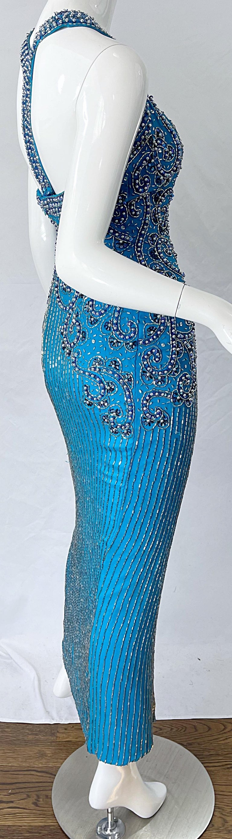 1980s Ted Lapidus Size 6 Turquoise Blue Silk Beaded Sequin Vintage 80s Gown For Sale 6
