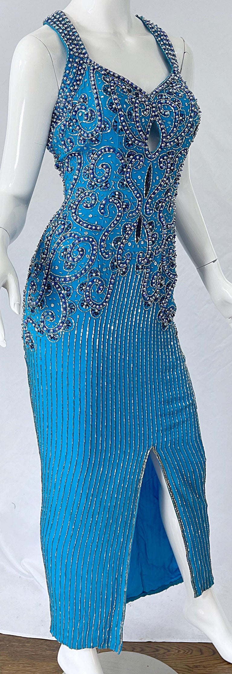 1980s Ted Lapidus Size 6 Turquoise Blue Silk Beaded Sequin Vintage 80s Gown For Sale 7