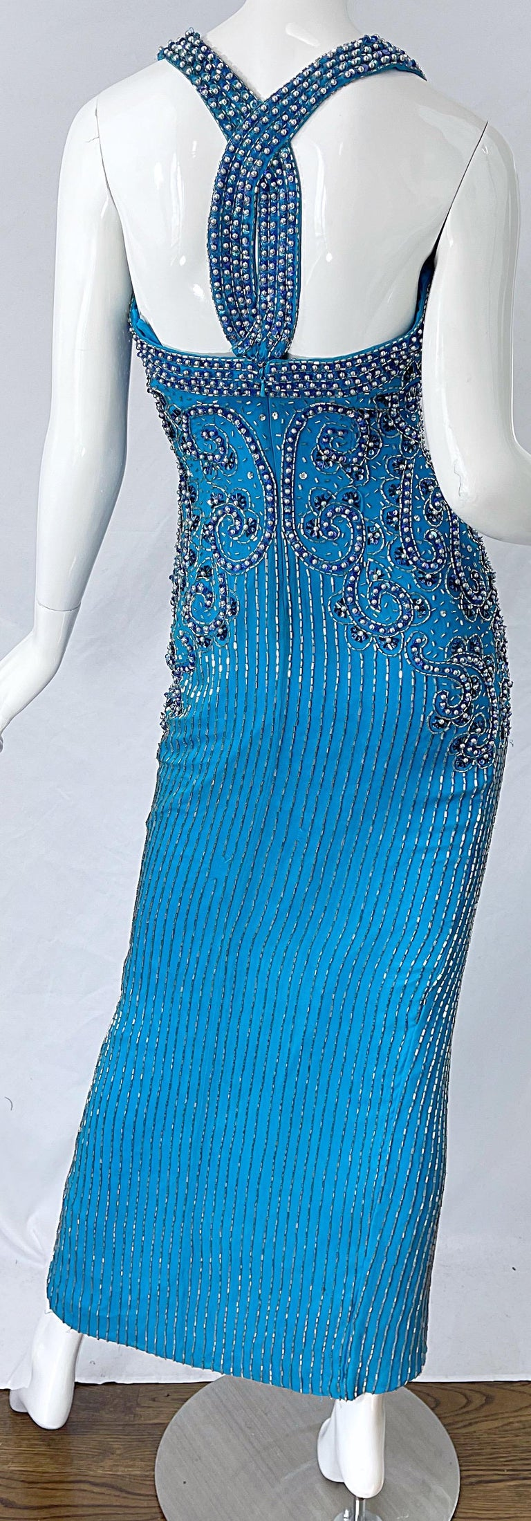 1980s Ted Lapidus Size 6 Turquoise Blue Silk Beaded Sequin Vintage 80s Gown For Sale 8