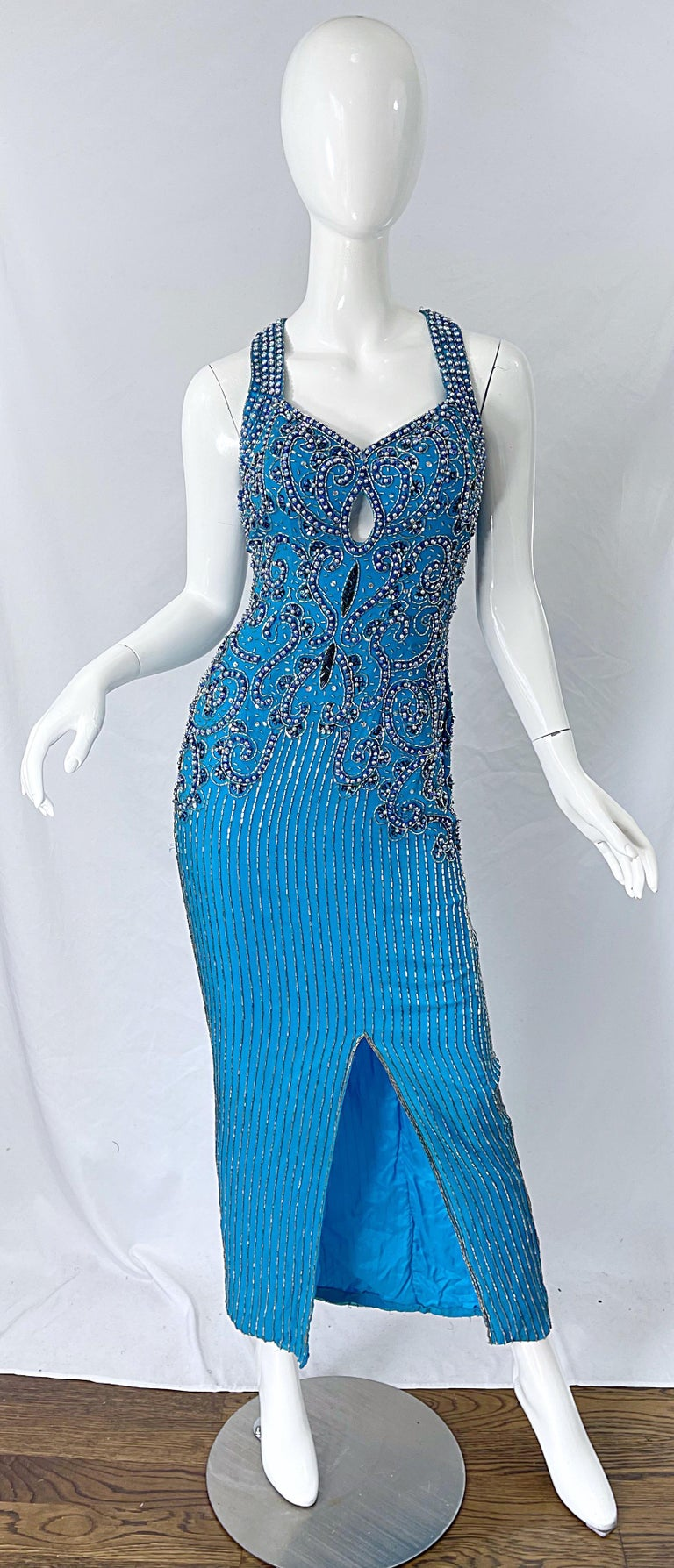 1980s Ted Lapidus Size 6 Turquoise Blue Silk Beaded Sequin Vintage 80s Gown For Sale 9