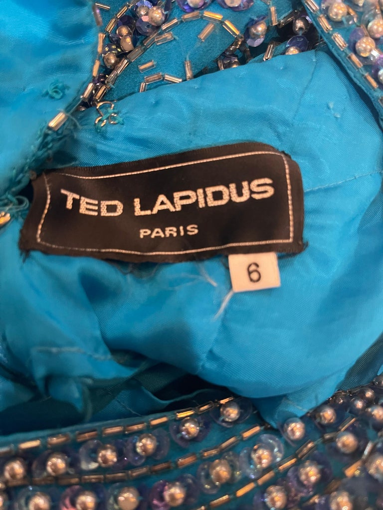 1980s Ted Lapidus Size 6 Turquoise Blue Silk Beaded Sequin Vintage 80s Gown For Sale 10
