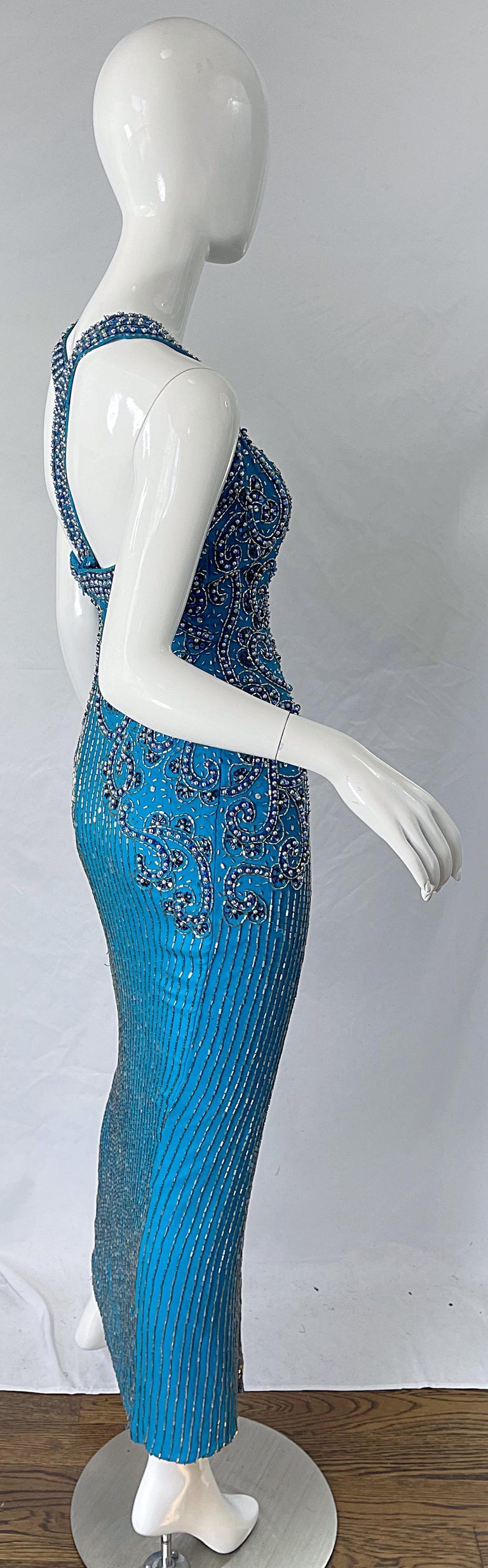 Women's 1980s Ted Lapidus Size 6 Turquoise Blue Silk Beaded Sequin Vintage 80s Gown For Sale