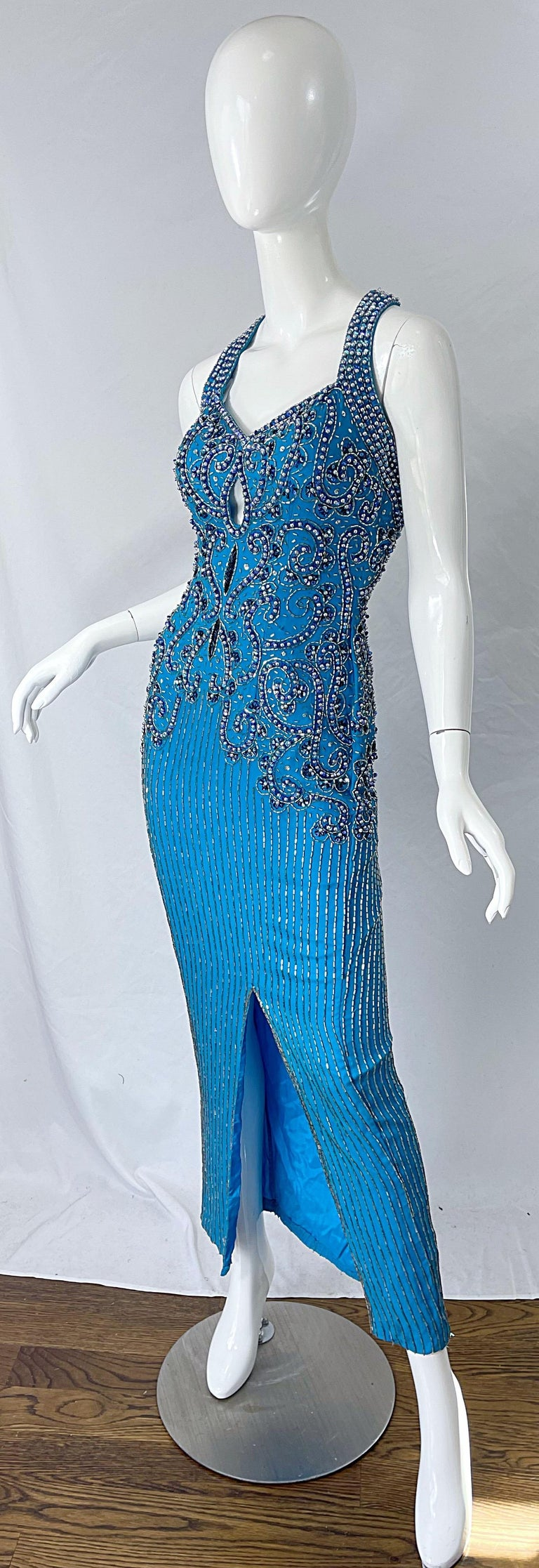 1980s Ted Lapidus Size 6 Turquoise Blue Silk Beaded Sequin Vintage 80s Gown For Sale 1