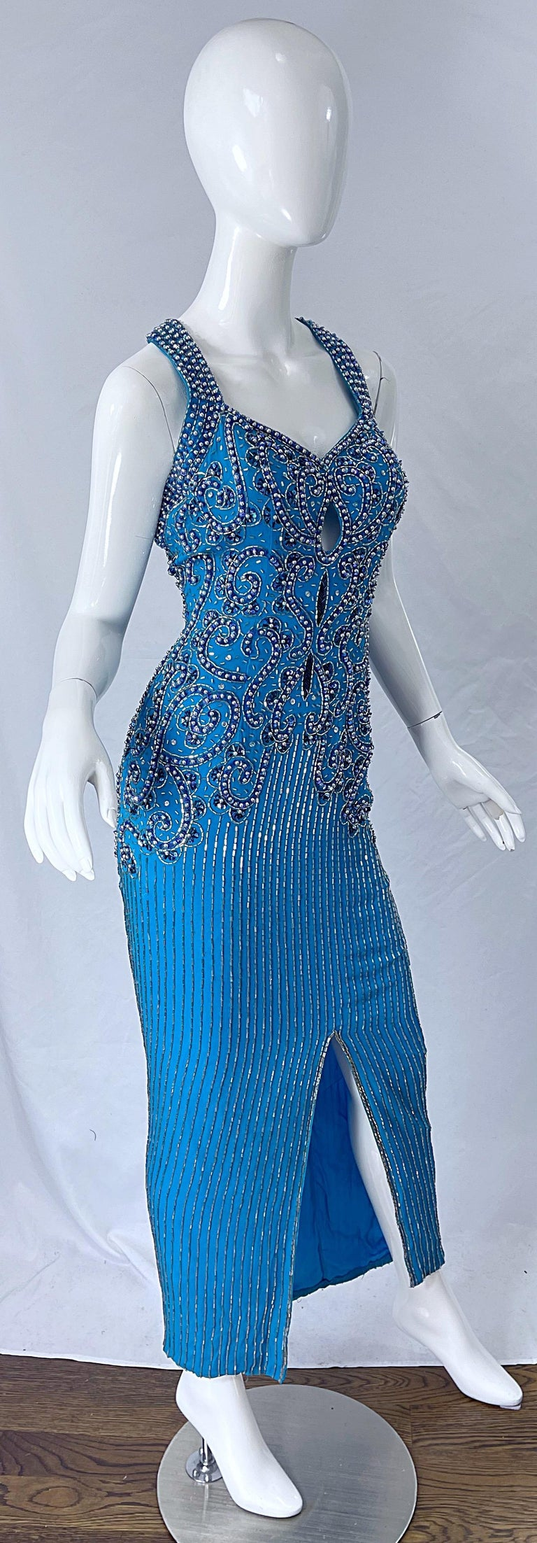 1980s Ted Lapidus Size 6 Turquoise Blue Silk Beaded Sequin Vintage 80s Gown For Sale 3