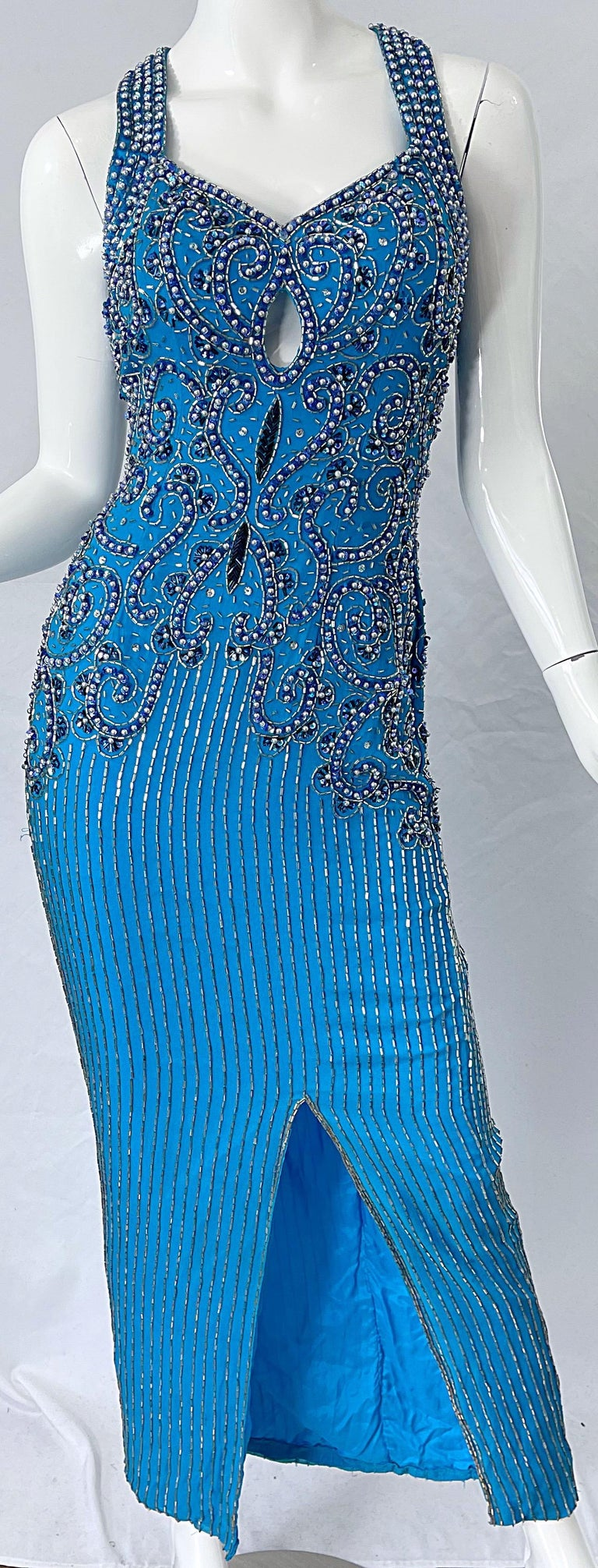 1980s Ted Lapidus Size 6 Turquoise Blue Silk Beaded Sequin Vintage 80s Gown For Sale 4