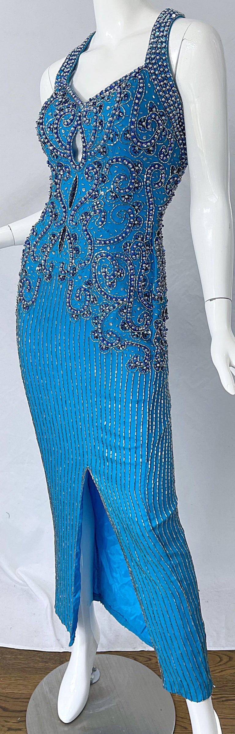 1980s Ted Lapidus Size 6 Turquoise Blue Silk Beaded Sequin Vintage 80s Gown For Sale 5