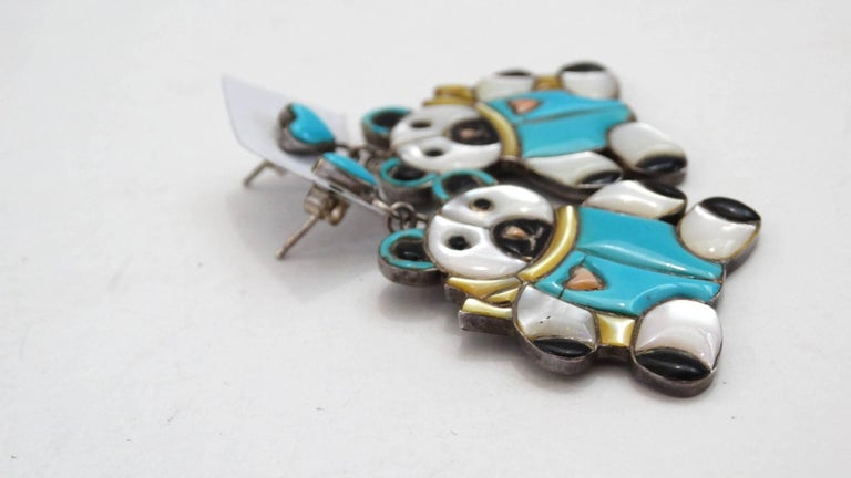 1980s Teddy Bear Zuni Turquoise Silver Earrings In Excellent Condition For Sale In Scottsdale, AZ