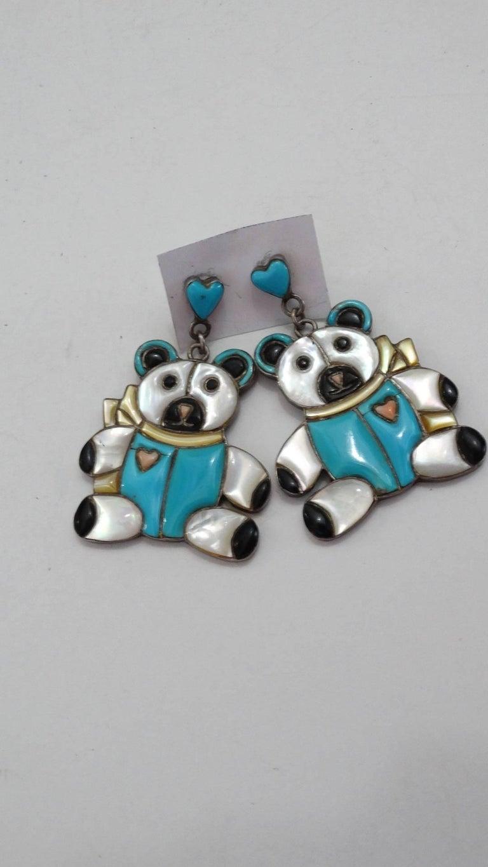 1980s Teddy Bear Zuni Turquoise Silver Earrings For Sale 1