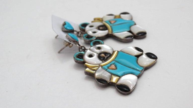 1980s Teddy Bear Zuni Turquoise Silver Earrings For Sale 2