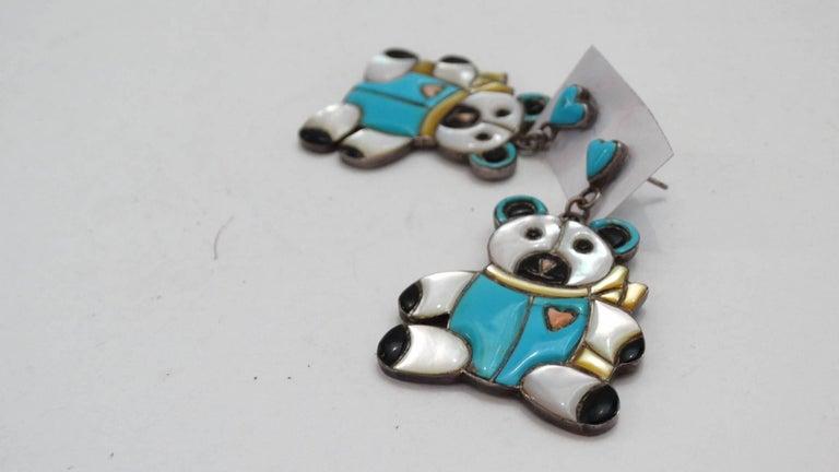 1980s Teddy Bear Zuni Turquoise Silver Earrings For Sale 3