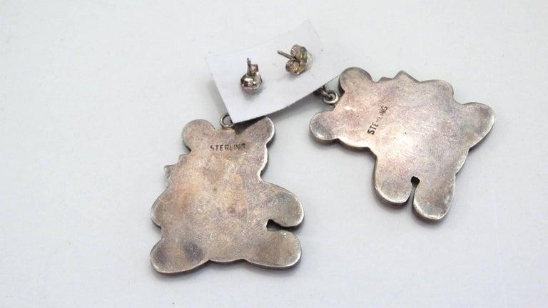 1980s Teddy Bear Zuni Turquoise Silver Earrings For Sale 4