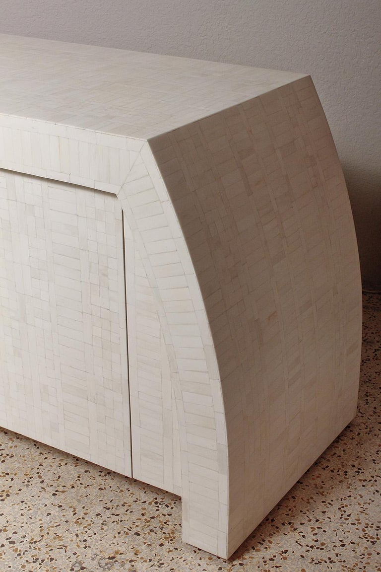 Hand-Crafted 1980s Tessellated Bone Credenza by Enrique Garces, Colombia For Sale