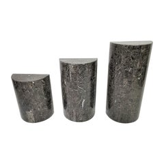 1980s Tessellated Lacquer Faux Marble Graduated Pedestals, Set of 3