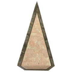 1980s Tessellated Stone Obelisk With Brass Inlay