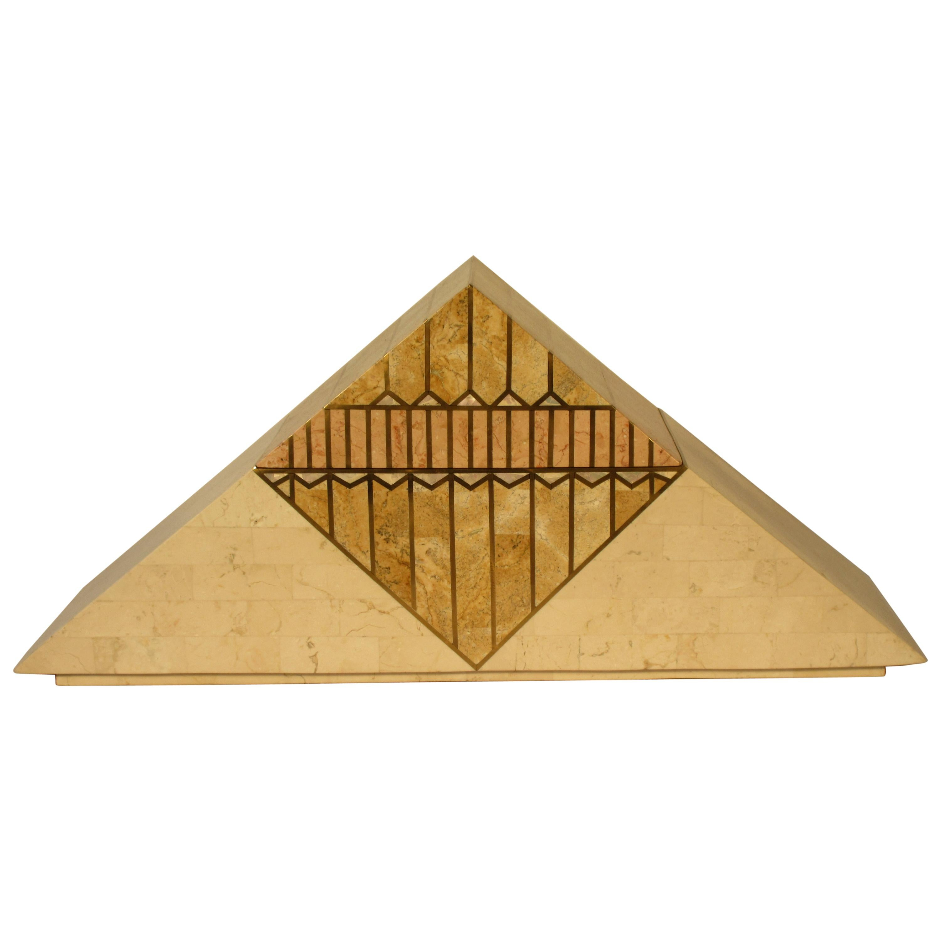 1980s Tessellated Stone With Brass Inlay Pyramid Shaped Box