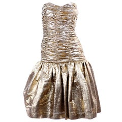 1980s Textured Gold Strapless Vintage Dress W Tulle underskirt & Ruched Bodice