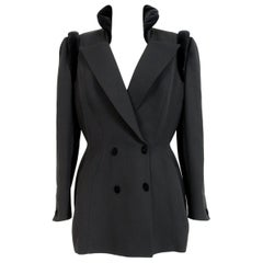 1980s Thierry Mugler Black Wool Velvet Evening Structured Futuristic Jacket