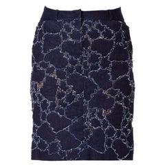 1980S  Thierry Mugler Couture Cotton Denim Leaves Appliquéd Onto Stretch Net Sk