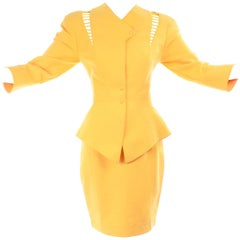 1980s Thierry Mugler Paris Vintage Yellow Skirt & Peplum Blazer Suit W/ Cutwork