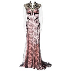 1980s THIERRY MUGLER Pink Silk Charmeuse & Black Chantilly Lace Trained Gown wit