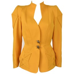 1980s Thierry Mugler Sculptural Yellow Blazer with Star Pockets