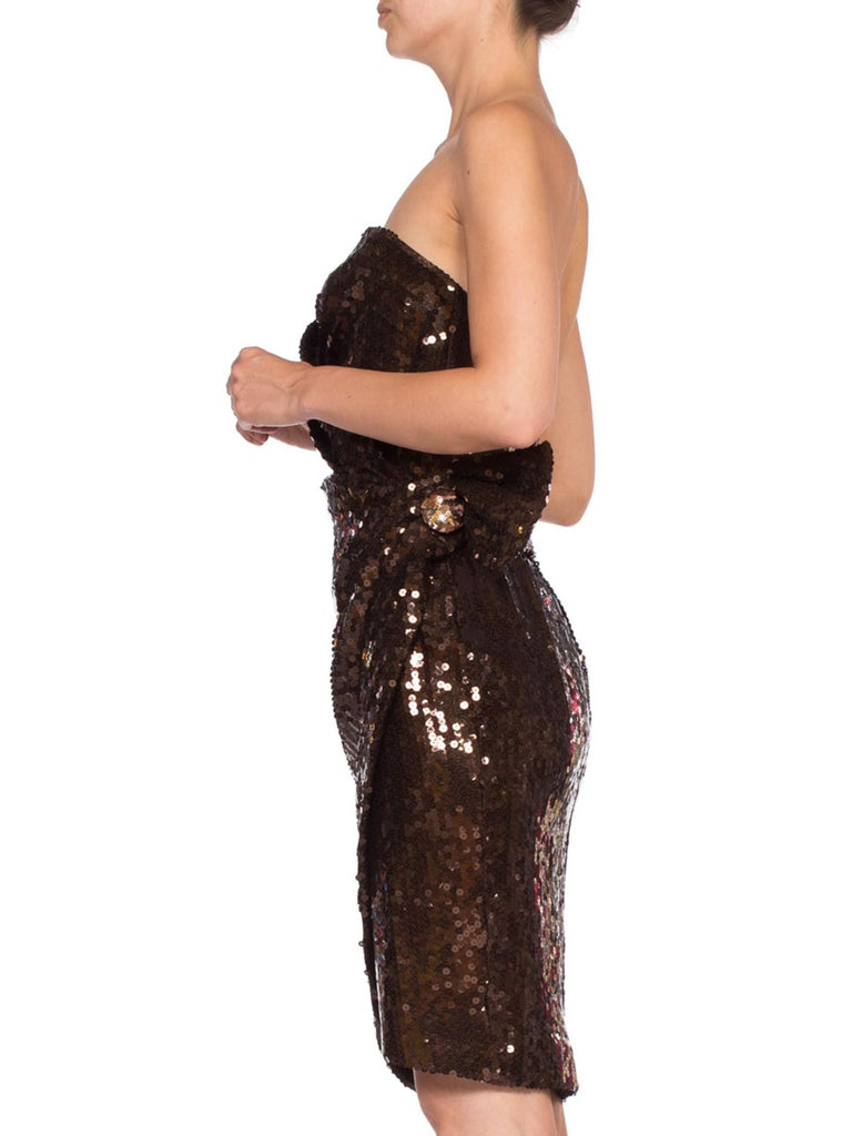 Black 1980S Thierry Mugler Sequin Beaded Strapless Cocktail Dress1980S THIERRY MUGLER  For Sale